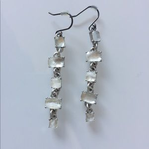 Lucky Brand | Silver & White Stones Drop Earrings